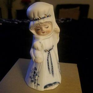 Jasco ceramic figurine girl holding baby sheep